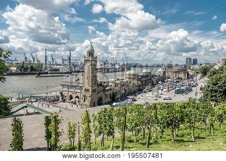 HAMBURG , GERMANY - JULY 14, 2017: The St. Pauli Piers, German: St. Pauli Landungsbrucken, are one of Hamburg's major tourist attractions in St. Pauli