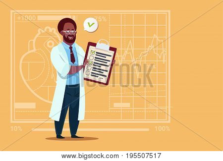 African American Doctor Holding Clipboard With Analysis Results And Diagnosis Medical Clinics Worker Hospital Flat Vector Illustration