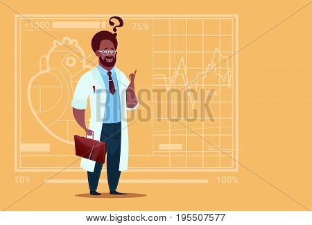 African American Doctor Confused Thinking Medical Clinics Worker Hospital Flat Vector Illustration