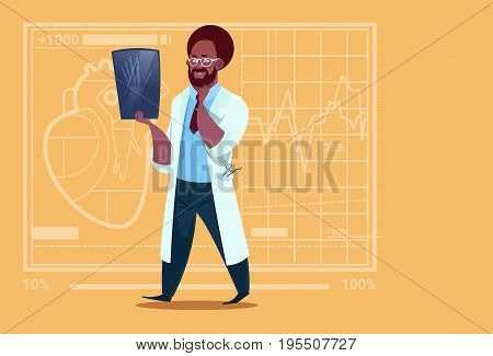 African American Doctor Examining Xray Medical Clinics Worker Hospital Surgery Flat Vector Illustration