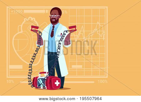 African American Doctor Hold Defibrillator Medical Clinics Worker Reanimation Hospital Flat Vector Illustration