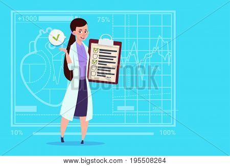 Female Doctor Holding Clipboard With Analysis Results And Diagnosis Medical Clinics Worker Hospital Flat Vector Illustration