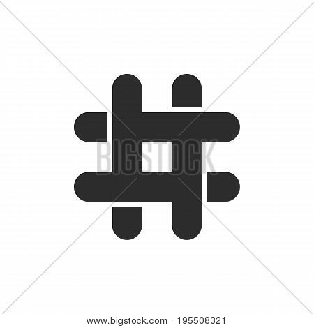 black hashtag icon with cut ends. concept of social media, micro blogging, pr, popularity, blogger, grille. isolated on white background. flat style trend modern logotype design vector illustration