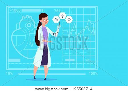 Female Doctor Working With Robotic Hand Artificial Limb Medical Clinics Worker Hospital Flat Vector Illustration