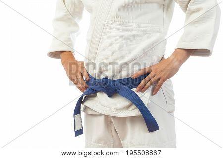 Close-up Of A Man  In A White Kimono For Judo