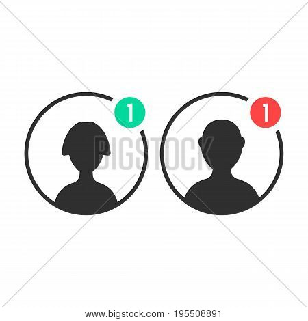 male and female user icons with notification. concept of ui, torso, character, teamwork, individuality, portrait. isolated on white background. flat style trend modern logo design vector illustration