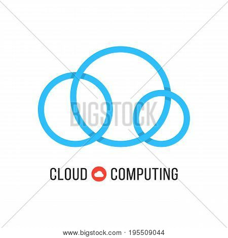 cloud computing with blue cloud from circles. concept of cloud technology, hosting, cloudscape, data retention. isolated on white background. flat style trend modern brand design vector illustration