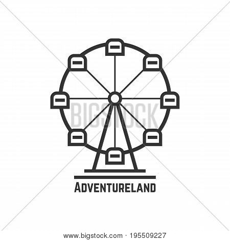 adventureland icon with black ferris wheel. concept of amusement park, fun fair, fairground, leisure activity. isolated on white background. flat style trend modern logotype design vector illustration