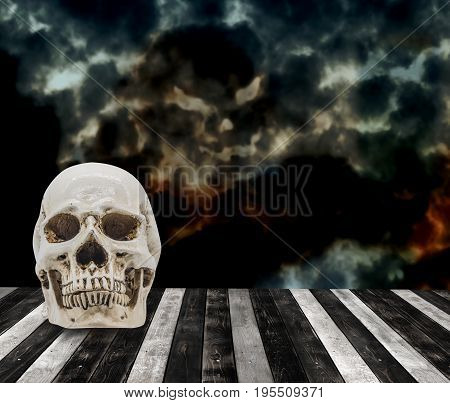 Halloween background with skull trick or treat