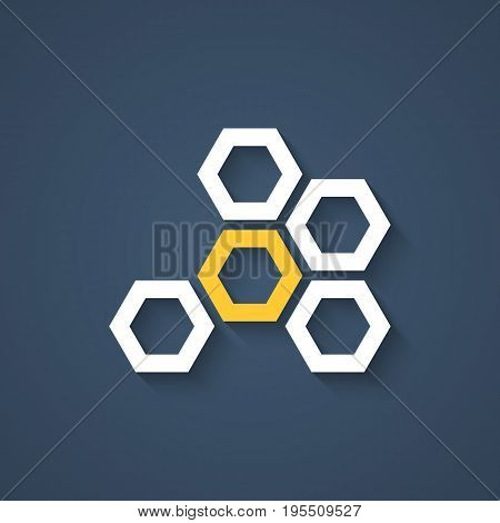 honeycomb icon with shadow. concept of visual identity, promotion, syrup, liquid sweetness, honeyed nectar. isolated on stylish background. flat style trend modern brand design vector illustration