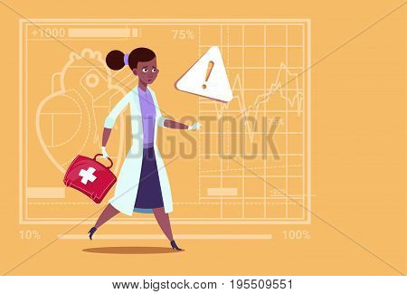 Emergency Female Doctor African American Run With Medicine Box First Aid Medical Clinics Worker Hospital Flat Vector Illustration