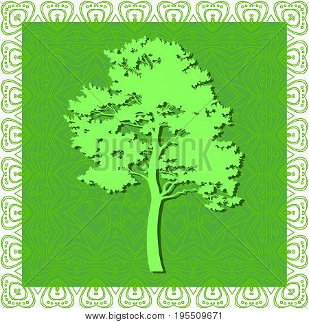 Pine Tree Silhouette on Abstract Green Background, Element for Seamless Tile Pattern. Vector