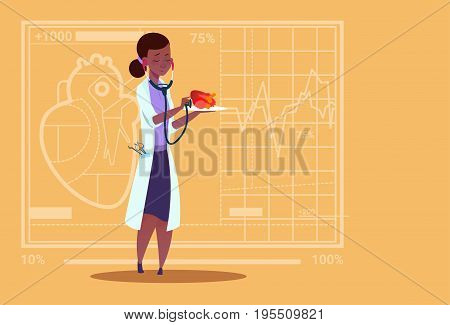 Female Doctor Cardiologist Examining Heart With Stethoscope Medical Clinics African American Worker Hospital Flat Vector Illustration