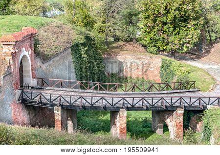 Bridge. Old wooden bridge in Petrovaradin fortress.