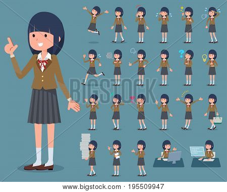 Flat Type School Girl Brown Blazer_1