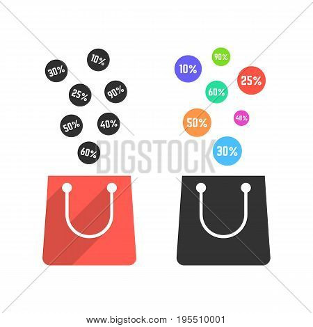 two shopping bags with falling prices. concept of black friday sale, shopaholic, merchandise, seasonal sale, wholesale. isolated on white background. flat style trend modern design vector illustration