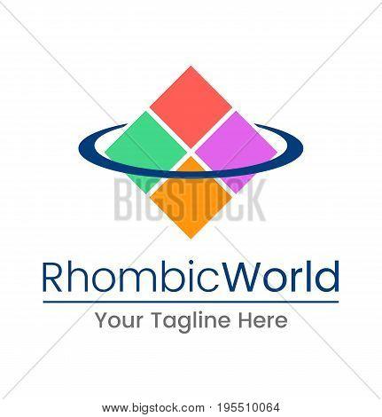 Rhombic world logo. Vector illustration. Colorful icon