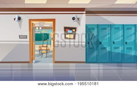 Empty School Corridor With Lockers Hall Open Door To Class Room Flat Vector Illustration