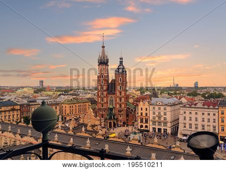 Krakow Market Square after sunset Poland. Europe.