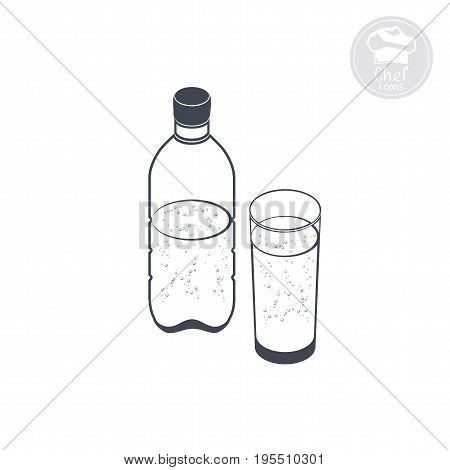carbonated water in a bottle and glass, vector computer icon