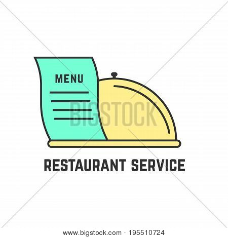 restaurant service with outline dish. concept of flatware, culinary, cooking, haute cuisine, enjoy your meal. isolated on white background. flat style trend modern logotype design vector illustration