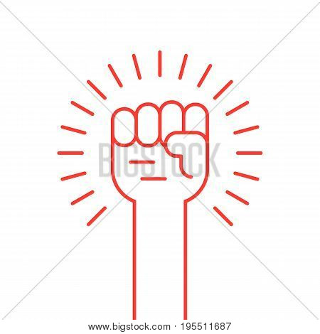 thin line red hand up icon. concept of soviet, radical, patriotic, solidarity, uprising, propaganda, military. isolated on white background. flat style modern logotype design vector illustration