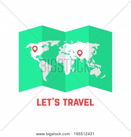green road map with world image. concept of geo location pin, landmark, geolocation, search route, navigational. isolated on white background. flat style trend modern logo design vector illustration