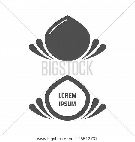 gray abstract flower logo set. concept of droplet, visual identity, eco friendly badge, relaxation, ecological mark. isolated on white background. flat style trend modern design vector illustration