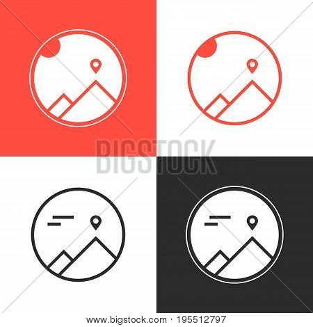 set of four mountaineering logos. concept of mission, achievement, triumph, journey, explore, confidence, goal. isolated on white background. flat style trend modern brand design vector illustration