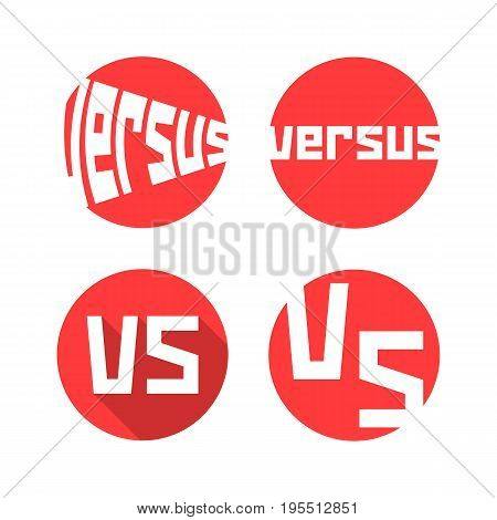 set of red versus icon. concept of confrontation, retro mark, together, standoff, final fighting, assault, war. isolated on white background. flat style trend modern logo design vector illustration