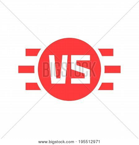 abstract versus round sign. concept of confrontation, retro mark, together, standoff, final fighting, assault, war. isolated on red background. flat style trend modern logo design vector illustration