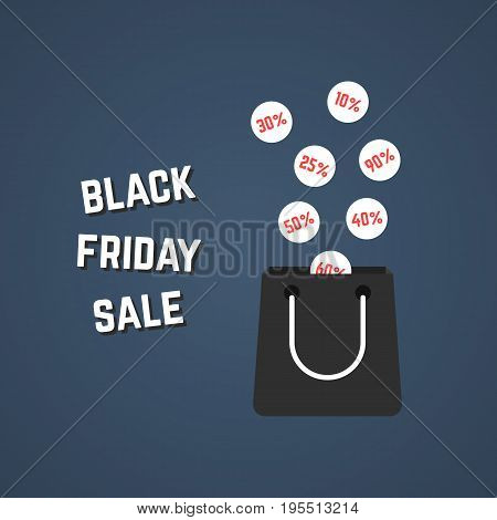 black friday sale with falling prices. concept of ecommerce, percent, prices off, big sale, package, bargain sale. isolated on stylish background. flat style trend modern design vector illustration