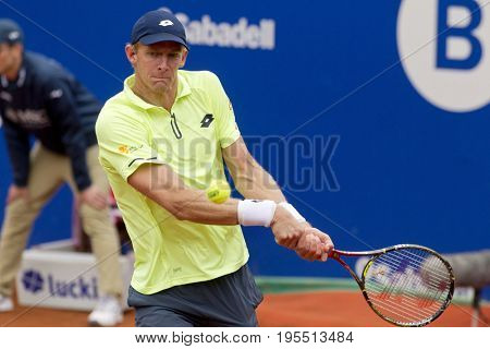 BARCELONA, SPAIN - APRIL, 27:  Austrian tennis player Kevin Anderson in action during a match of Barcelona tennis tournament Conde de Godo on April 27, 2017 in Barcelona Spain