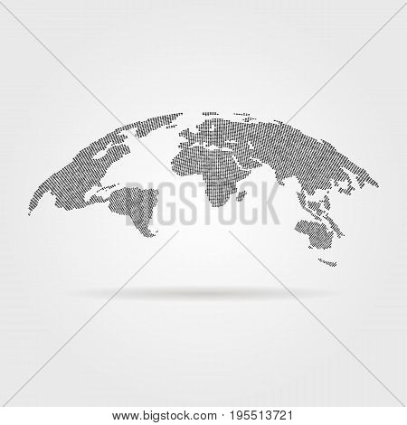 black global world map from points. concept of infographics element, trip around the world, globalization. isolated on gray background. flat style trend modern logotype design vector illustration