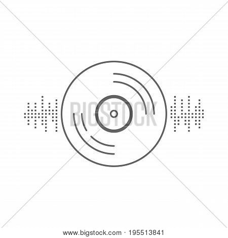 vinyl record with equalizer sign. concept of music recording, audiophiles gathering, music lover, collecting. isolated on white background. flat style trend modern logotype design vector illustration