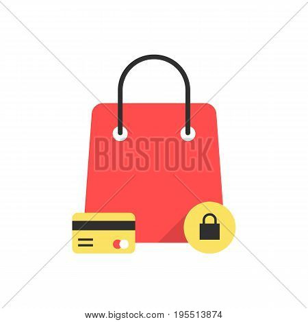 red bag icon like protected shopping. concept of commercial, shopper, ecommerce, promotion, black friday sale. isolated on white background. flat style trend modern logo design vector illustration
