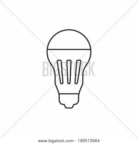 black thin line led bulb icon. concept of halogen, luminosity, illuminate, energy conservation, lighting. isolated on white background. flat style trend modern logotype design vector illustration