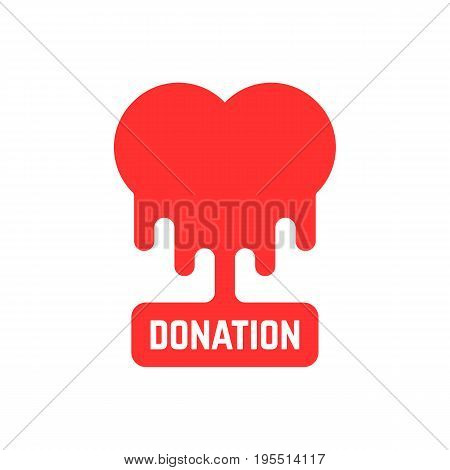 donation icon with bleeding heart. concept of philanthropy, foundation, humanism, laboratory hospital, volunteer. isolated on white background. flat style trend modern brand design vector illustration