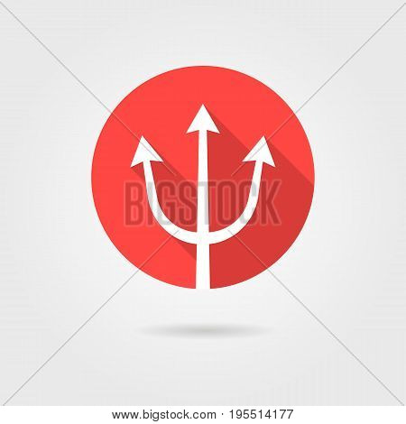 red trident icon with long shadow. concept of lance, oceanus, strength, dangerous, weaponry, sea god. isolated on gray background. flat style trend modern logotype design vector illustration