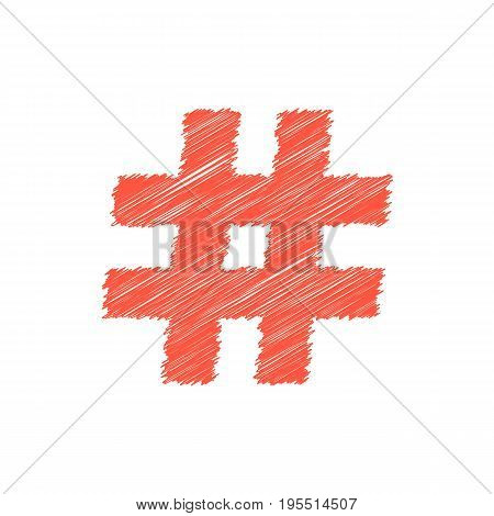 red scribble hashtag icon. concept of micro blogging, pr, popularity, blogger, grille, grid, short message. isolated on white background. sketch style trend modern logotype design vector illustration