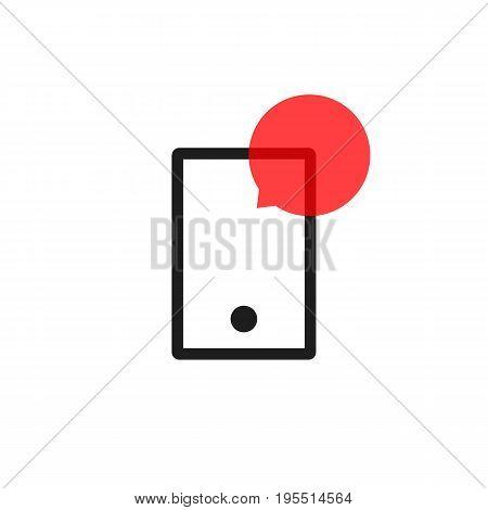 outline phone with speech bubble. concept of online communion, voicemail, chat application, voice assistant. isolated on white background. flat style trend modern logo design vector illustration