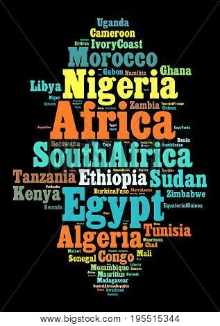 Nations in Africa word cloud concept over dark background
