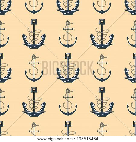 Vintage retro anchor seamless pattern. Vector sign sea ocean graphic element nautical background. Marine emblem traditional anchorage design illustration.