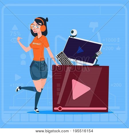 Girl Over Vlogger Channel Screen Modern Video Blogger Vlog Creator Flat Vector Illustration