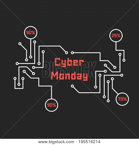 pcb elements like cyber monday. concept of black friday sale, motherboard, shopping, cheap, special offer, percent. isolated on black background. flat style trend modern design vector illustration