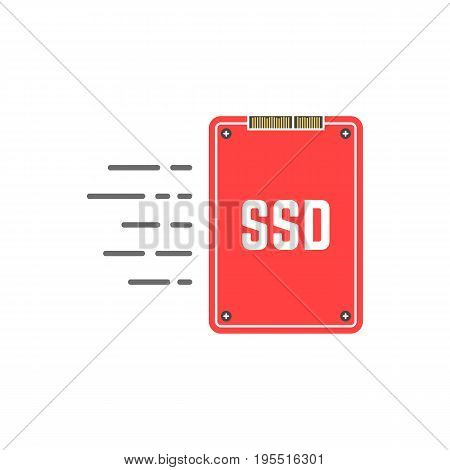 red ssd like fast data transmission. concept of chip, transferring files, nand, desktop component, data retention. isolated on white background. flat style trend modern logo design vector illustration