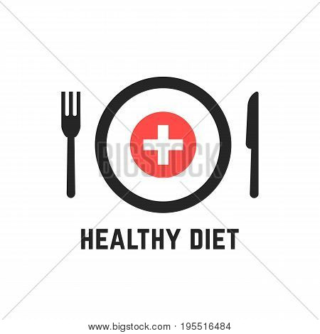 healthy diet with tablewares. concept of vegan, dishware, flatware, catering, healthy meals, medical dietary. isolated on white background. flat style trend modern logotype design vector illustration