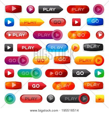 Go and play buttons media player internet website ui-ux element online website icon vector illustration. Accept success vote checkmark.