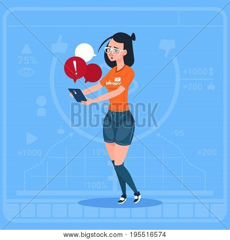 Girl Blogger Hold Cell Smart Phone With Warning Sign Modern Video Blogs Creator Vlog Channel Flat Vector Illustration