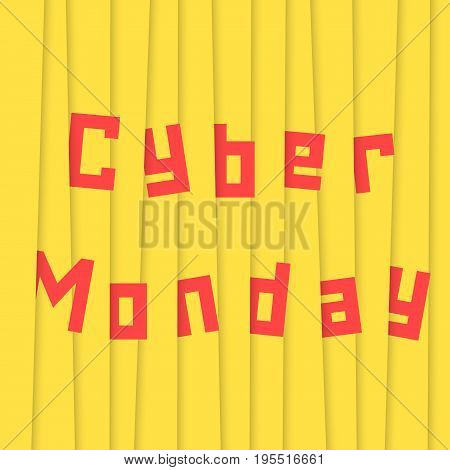 cyber monday with yellow stripes. concept of black friday sale shopping, cheap merchandise, marketing, wallpaper, holiday stock promo, seasonal sale. flat style trend modern design vector illustration